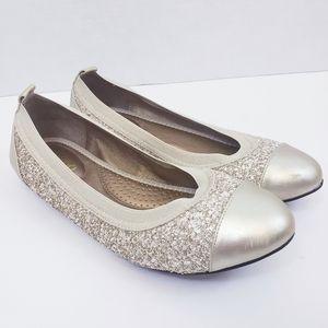 Me Too Kaden Champagne Metallic Ballet Flats 8.5